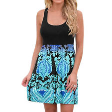 Women Scoop Neck Novelty Prints Contrast Color Tank Dress
