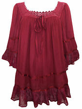 Womens plus size 16 18   TOP BURGUNDY crinkle romantic tunic loose fit