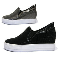 Womens Glitter Crystal Platform Wedge Slip on Sneakers / Black, Dark Silver