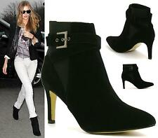 Womens Slip On Black Faux Suede Stiletto High Heel Ladies Pull On Ankle Boots