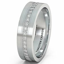 Mens Wedding Band 8mm White Tungsten Carbide Ring with Brilliant Comfort Fit
