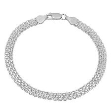 Solid 925 Sterling Silver 5.5mm Bismark Chain Bracelet Made in Italy