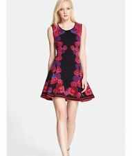 $550 DIANE von FURSTENBERG Dress Rose Jacquard Flare Dress P / S / M GORGEOUS!