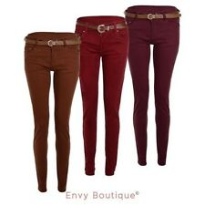 NEW WOMENS LADIES SKINNY JEANS STRETCHY FIT COLOURED TROUSERS BELTED PANTS