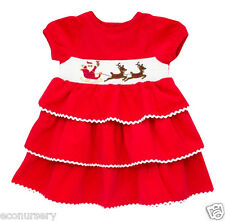 AURORA ROYAL RED CORDUROY EMBROIDERED CHRISTMAS PARTY DRESS