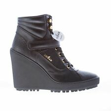 HOGAN women shoes Black leather ankle boot with laces and strap
