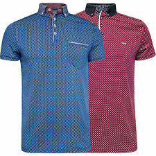 Mens Bewley and Ritch Jersey Polo T Shirt Allover Print