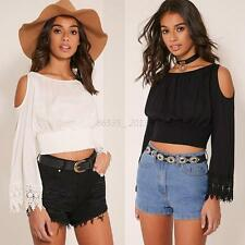 Sexy Ladies Off Shoulder Long Sleeve shirt Pleated Cropped Beach Club Bouse Tops