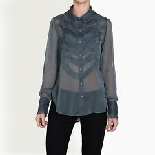 Free People Women's Solid Tux Frilled Shirt 100% Polyester
