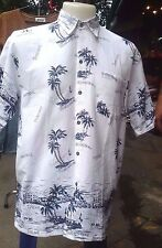 Men Hawaiian Cruise Shirt Tropical Luau Beach Party White Palm Island Map Aloha
