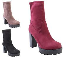 WOMENS LADIES BLOCK HIGH HEEL GRIP SOLE SMART ZIP UP MID CALF ANKLE BOOTS SIZE