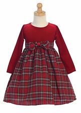New Baby Toddler Kids Girls Red Velvet Plaid Dress Christmas Pageant Holiday 503