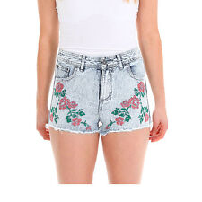 BELLFIELD WOMENS PANGWA DENIM SHORTS WITH ROSE EMBROIDERY