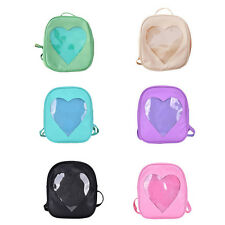 Cute Style Women Transparent Heart Shaped Backpack Schoolbag Travel Hiking Bags