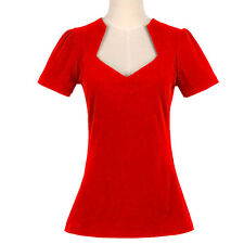 Women Rockabilly Retro Vintage 50s Pin-up Top Shirt Red