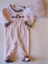 NWT Miniclasix One Piece Outfit & Hat Baby Infant Girls Valentine's Day Jumpsuit