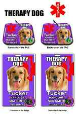 Service Dog ID Tag and Badge THERAPY DOG combo custom photo id for pet purple
