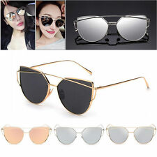 Mens Womens Flat Mirror Metal Frame Retro Oversized Cat Eye Sunglasses Eyewear