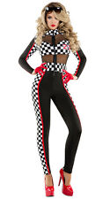 Sexy Starline Racy Racer Black & Checkered Catsuit Race Car Driver Costume S6097