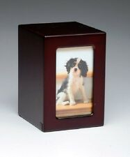 Pet Urn,Dog Cat Small Animal Cremation Urn Photobox,Color Cherry