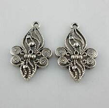 16/150pcs Tibetan Silver 18x29.5mm Flower Charms Pendants Beads for Jewelry