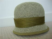 Ladies Per Una olive green straw hat with bow, one size, BNWT. RRP £23