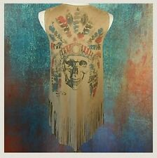 Skull Vest Chief American Indian Faux Suede Rocker Boho Western Ladies Women's