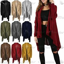Ladies Open Front Waterfall Baggy Womens Chunky Knit Long Sleeve Midi Cardigan