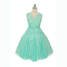 V-Neck Sparkle Lace Formal Flower Girl Dress Wedding Graduation Recital Gown