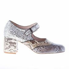 MIU MIU women shoes new Two toned pyton skin Mary Jane with silver glitter