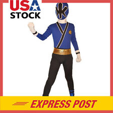 Blue Power Rangers costume kids Samurai cosplay child Halloween zentai Bodysuit