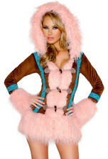 J Valentine hooded pink furry eskimo dress costume