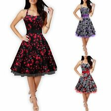 Women Vintage Halter Style Floral Printing Rock Swing Retro Dress Slip Dress