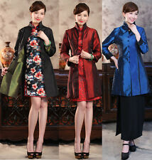 Double Face Chinese Women's Silk Jacket Coat Top Cheongsam Size 6 8 10 12 14 16