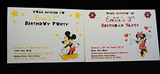 10 Personalised Childrens Birthday Party Invitations/Invites-Minnie/Mickey Mouse