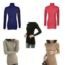 Slim Turtleneck Long Knit Ladies Solid Color Pullover Outwear Tops Sweater HH