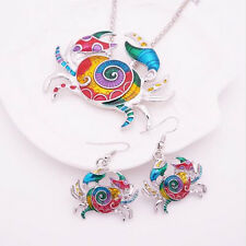 Colorful Crab Silver Plated Gift Fashion 1 sets Earring Jewelry Sets Necklace