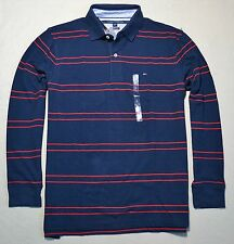 NWT MEN TOMMY HILFIGER NAVY RED STRIPED CLASSIC FIT POLO SHIRT SZ LARGE