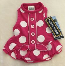 Pink Dot Button Dog Dress - Ruffles - ALL SIZES - Pup Crew - NWT