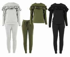 Ladies New Stylish long sleeves Frill Detail Top and Jogger Lounge Suit S M L