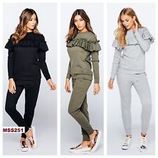 Ladies New Stylish long sleeves Frill Detail Top and Jogger Lounge Suit S M L XL