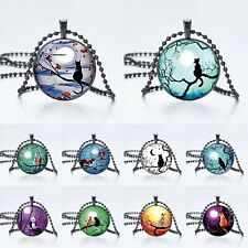 Cute Cat Owl Birds Panda Cabochon Glass Pendant Long Chain Necklace Xmas Jewelry