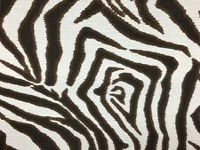 "Lacefield Brown Zebra Stripe on White Ikat Upholstery Fabric By The Yard 54""W"
