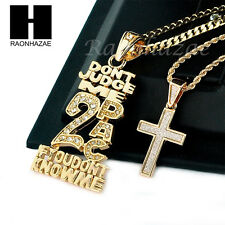 "MEN ICED OUT 2PAC & CROSS PENDANT CUBAN BOX CHAIN 24"" 30"" 2PCS NECKLACE SET SS38"