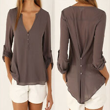 Women Sexy Deep V Neck Button Slim Waist Long Sleeves Chiffon Blouse Shirt  Tops