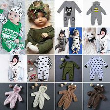 Newborn Baby Girls Boys Cotton Romper Bodysuit Jumpsuit Sleepwear Outfits 0-24M