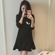 Korean Round Collar Autumn Fashion Women Long Section Embroidery Flounced Dress