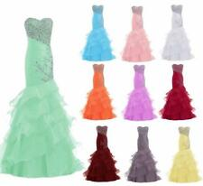 Beads Evening Formal Dress Mermaid Prom Pageant Party Gown 2 4 6 8 10 12 14 16