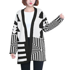 Women Geometric Pattern Front Opening Tunic Sweater Cardigan