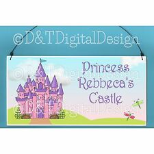 PRINCESS CASTLE SIGN PLAQUE 10x5 Personal Name Sign, Kids Door Sign, Room Decor